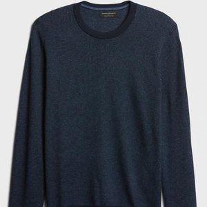 Mens Premium Luxe Birdseye Crew-Neck Sweater - L